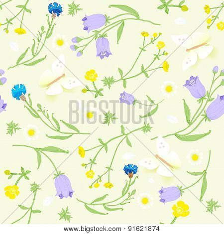 seamless pattern of wildflowers and butterflies.vector illustration