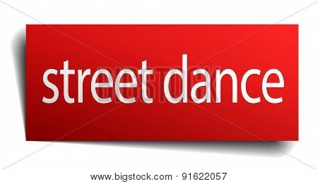 Street Dance Red Paper Sign Isolated On White