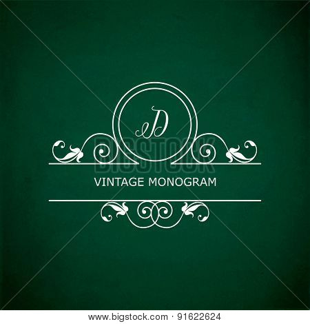 Monogram of the letter D, in retro floral style on green chalkboard background.