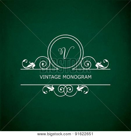 Monogram of the letter V, in retro floral style on green chalkboard background.