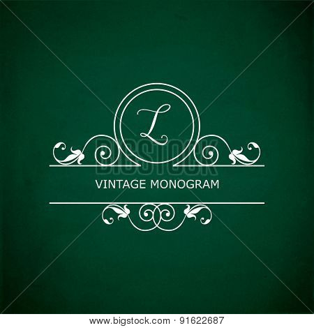 Monogram of the letter L, in retro floral style on green chalkboard background.
