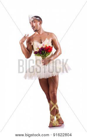 Man in tutu performing ballet dance