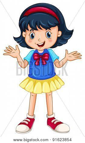 Closeup happy girl standing alone