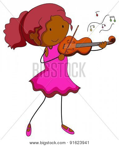 Happy girl playing violin alone
