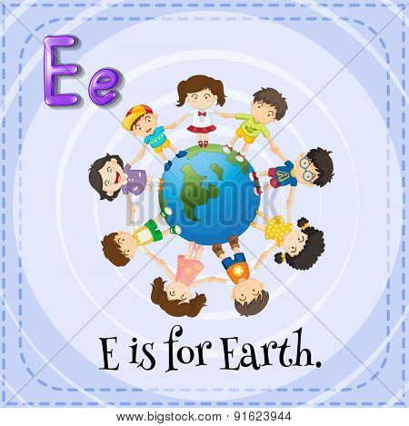 Flashcard letter E is for Earth