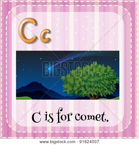 Flashcard letter C is for comet