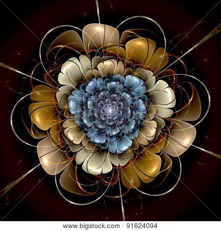 Dark Gold Blue Fractal Flower Pattern