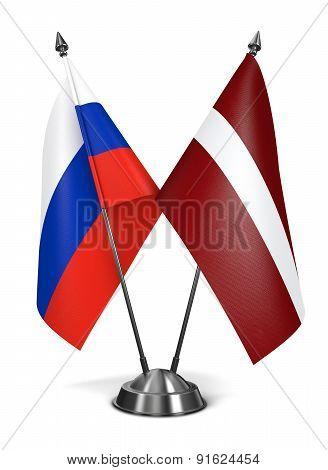 Russia and Latvia - Miniature Flags.