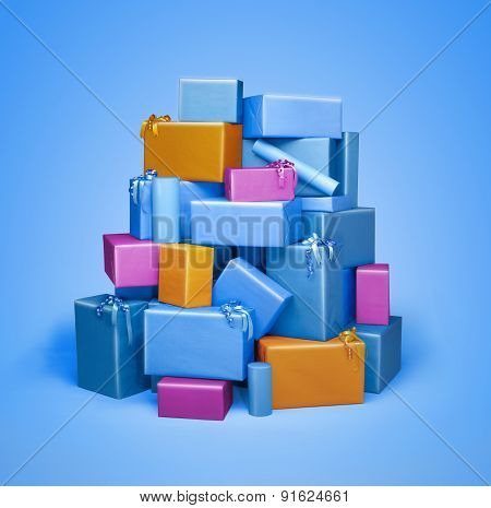 Pile Of Gift Boxes Isolated On Blue