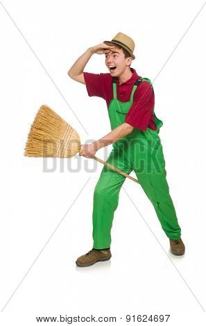 Man janitor isolated on the white