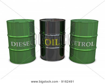 Diesel, Oil and Petrol barrels