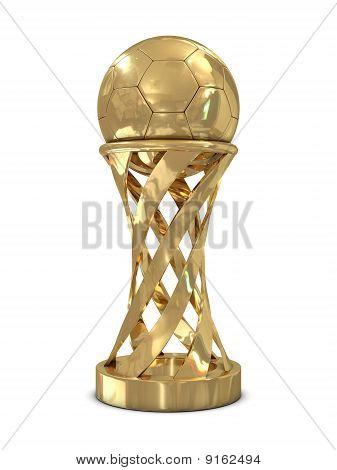 Golden soccer trophy