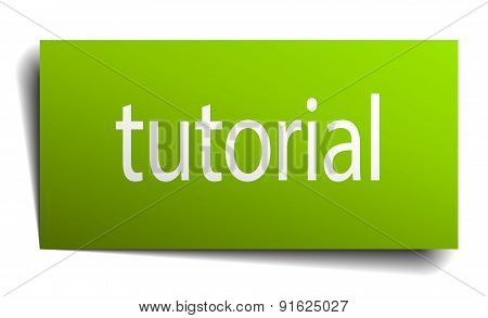 Tutorial Square Paper Sign Isolated On White