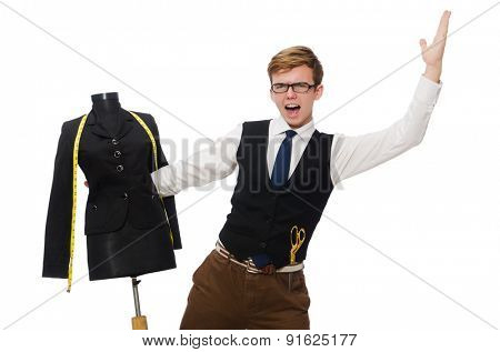 Funny tailor isolated on white