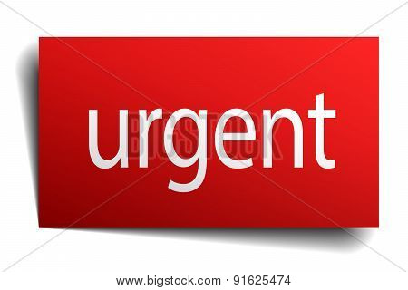Urgent Red Paper Sign On White Background