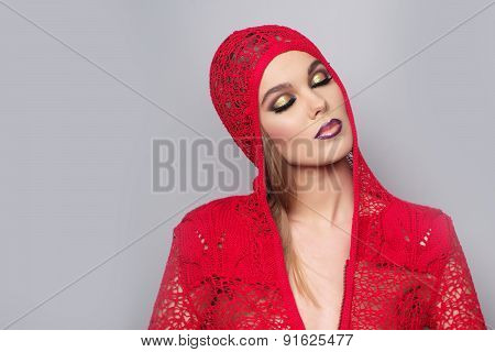 Alluring Sexy Woman In Red Knitted Jacke