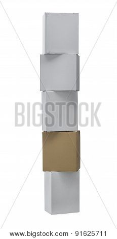 Stacked Up Carton Boxes With Clipping Path