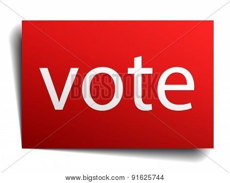 Vote Red Paper Sign On White Background