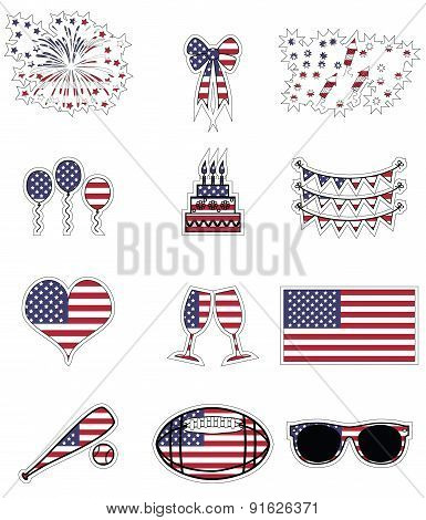American symbols celebration and symbols presented on the american flag background in  stickers styl