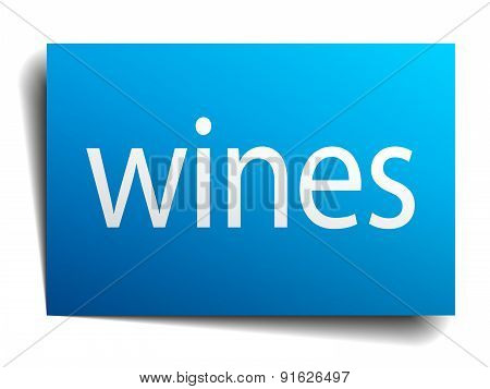 Wines Blue Paper Sign Isolated On White