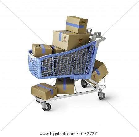 Boxes In Shopping Cart With Clipping Path