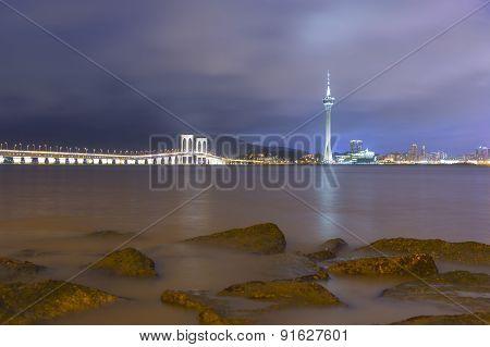 Macau Tower And Ponte De Sai Van Bridge