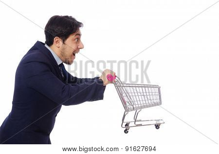 Funny man with shopping cart isolated on white