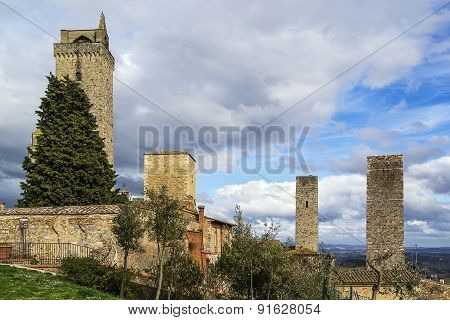 View Of San Gimignano Tower, Italy