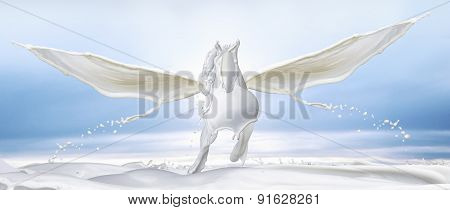 White Pegasus Made Out Of Milk Splashes