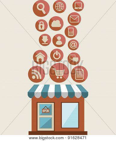 Shopping design over beige background vector illustration