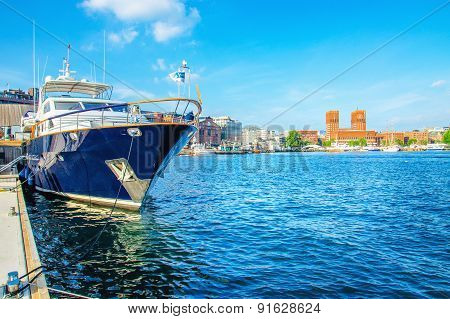 Luxury boat in yacht harbour Oslo, Norway
