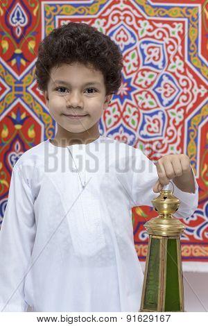Happy Boy With Lantern Celebrating Ramadan