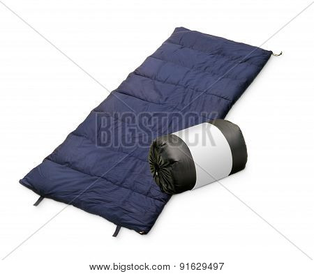 Sleeping Bag Isolated On A White Back Ground