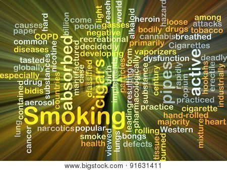 Background concept wordcloud illustration of smoking glowing light