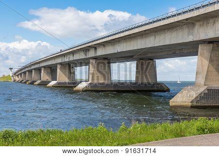 Concrete Bridge Over Dutch Lake Near Lelystad