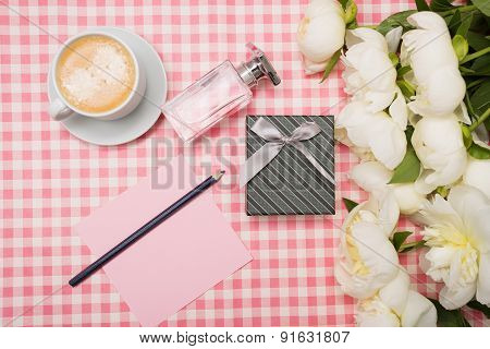 Gift Box And A Bouquet Of Peonies