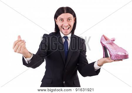 Man with woman shoes isolated on white