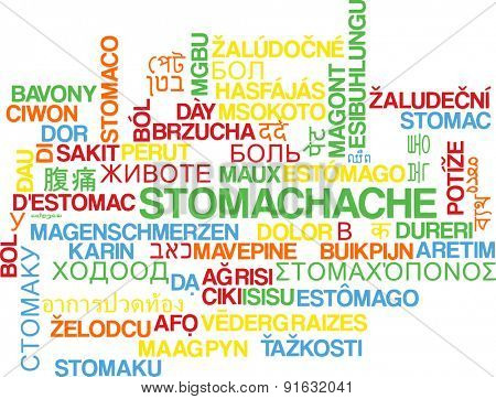 Background concept wordcloud multilanguage international many language illustration of stomachache