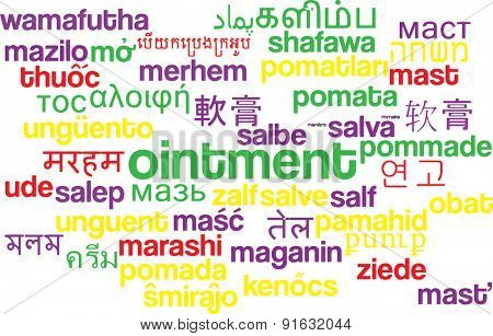 Background concept wordcloud multilanguage international many language illustration of ointment