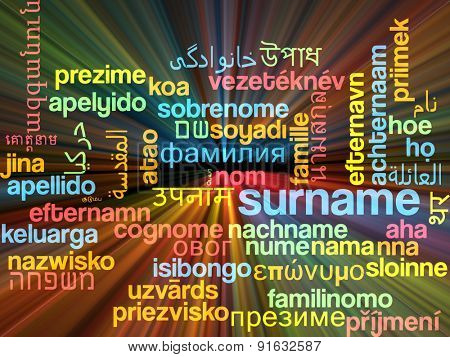 Background concept wordcloud multilanguage international many language illustration of surname glowing light