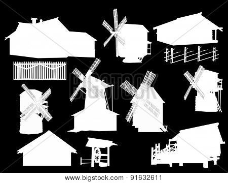 illustration with country buildings collection
