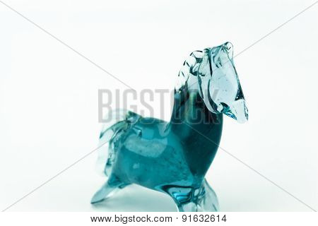 Horse Blown Glass Translucent Blue