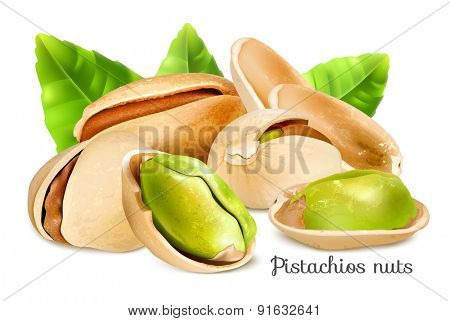 Pistachios with leaves. Vector illustration