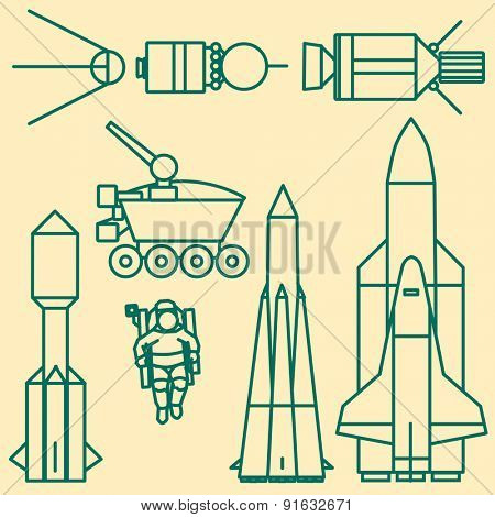 Linear set of icons relating to space exploration.