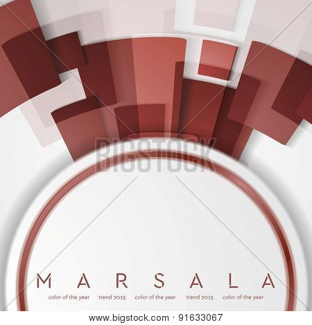 Trendy color marsala 2015. Technology abstract background. Vector design
