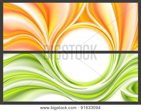 Abstract bright smooth waves pattern. Vector banners design