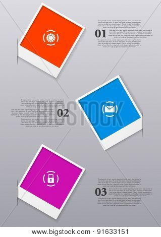 Infographics design with Polaroid frames. Vector illustration
