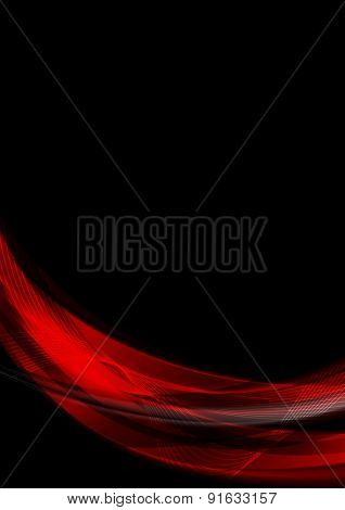Abstract smooth waves on black background. Vector design