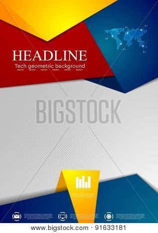 Abstract tech corporate flyer design. Vector background