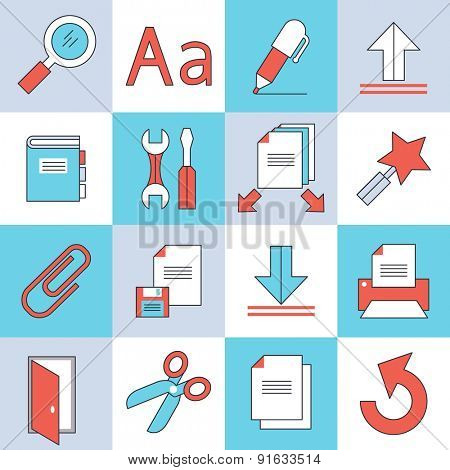 Document icons, flat design, thin lines and light color style